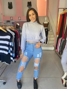 Calça Mom Destroyed Jeans