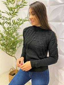 Blusa Tricô Bolhas Gabrielle Preta