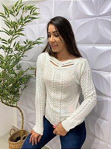 Blusa Tricô Paula Trançado Branco