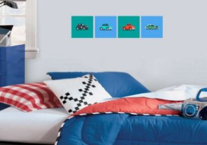 "Kit Placa Decorativa ""Carros"" 20 x 20cm"