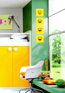 "Kit Placa Decorativa ""Smiley"" 20 x 20cm"