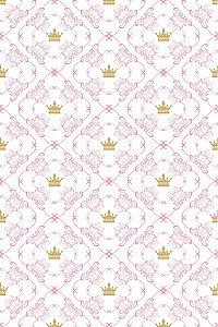 Papel de Parede Baby Realeza Rosa e Dourado