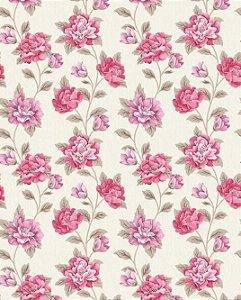 Papel de parede floral com flores rosas e lilás