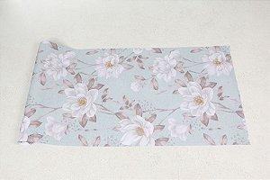 Papel de Parede Floral com flores brancas