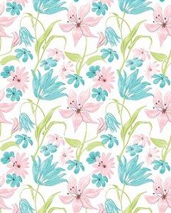 Papel de parede floral com flores rosas e azuis