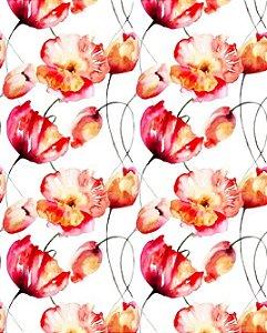 Papel de parede floral com flores mescladas em vermelho