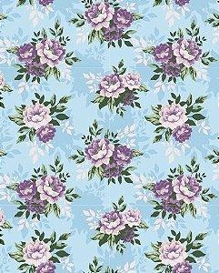 Papel de parede Floral com Flores Roxas e Fundo Azul