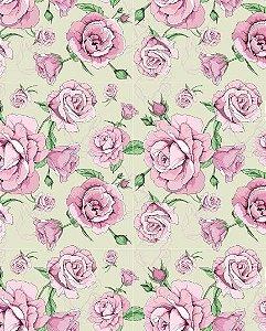 Papel de parede floral com Rosas e Fundo Bege