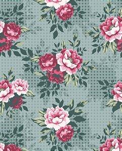 Papel de parede Floral com Fundo Quadriculado