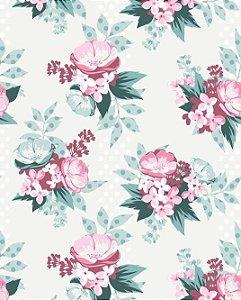 Papel de parede Floral com Fundo em Poá