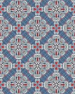 Azulejo Hidráulico em tons de Branco, Azul e Vermelho
