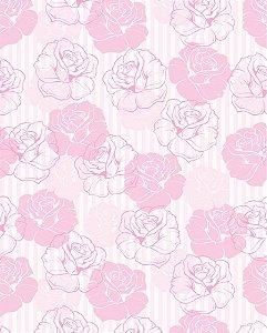 Papel de parede Floral com Fundo Listrado