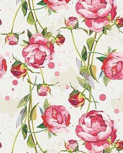 Papel de parede Floral com Fundo em tons de Bege