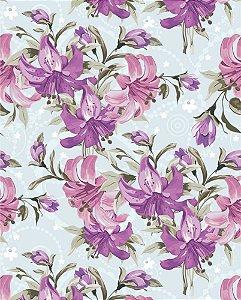 Papel de parede Floral com Flores Lilás e Fundo Azul