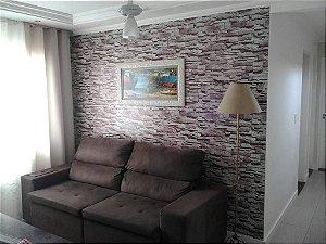 Papel de Parede Pedra Mosaico em tons de Cinza e Bege