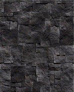 Papel de Parede Pedra Mosaico em tons Escuros