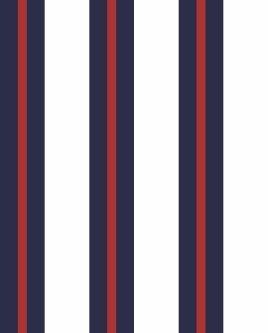 Papel de Parede estilo Listrado Vermelho, Azul e Branco