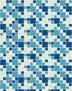 Papel de Parede Pastilhas em Tons de Azul e Bege