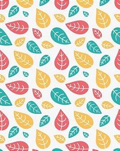 Papel de parede estilo Natura Folhas Coloridas