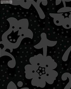 Papel de Parede Floral Cinza Escuro