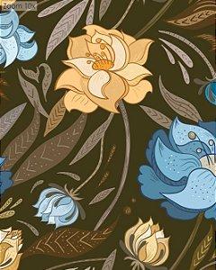 Papel de parede Floral com Fundo Escuro