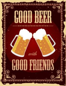 Placa Decorativa Vintage Beer And Friends 24x31cm