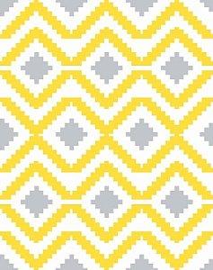Papel de Parede Estilo Geométrico Cinza e Amarelo