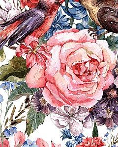 Papel de parede Floral com Passarinhos