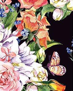 Papel de parede Floral Colorido com Fundo Preto