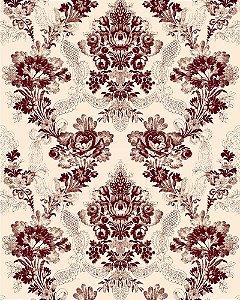 Papel de Parede Floral Arabesco em tom de marrom