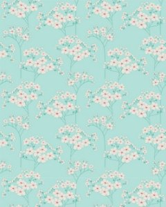 Papel de parede Floral Delicado com Fundo Verde