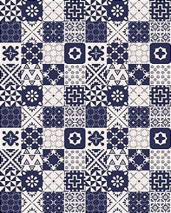Azulejo Hidráulico em tons de Azul e Bege