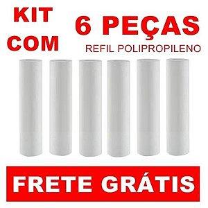 """ATACADO - Kit com 6 Refis Cartuchos Polipropileno PP para filtros de 9"""" 3/4"""