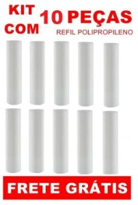 """ATACADO - Kit com 10 Refis Cartuchos Polipropileno PP para filtros de 9"""" 3/4"""