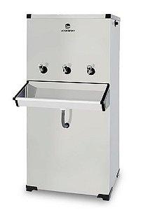 Bebedouro Purificador Industrial 3 Torneiras Inox 100 litros com Compressor