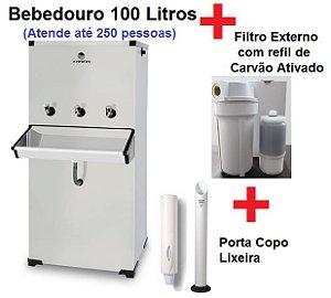 Bebedouro Purificador Industrial 3 Torneiras Inox 100 litros com Compressor Karina