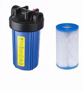 Filtro Big Blue 10 Polegadas Com Refil Plissado Lavável 30 Micras
