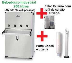 Bebedouro Purificador Industrial 4 Torneiras Inox 200 litros com Compressor Karina