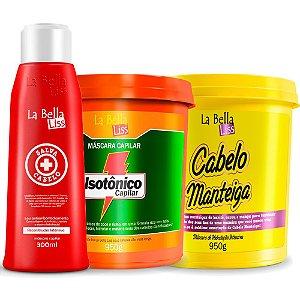 Kit Tratamento Salva Cabelo SOS 300ml, Isotônico e Máscara Cabelo Manteiga 950g La Bella Liss
