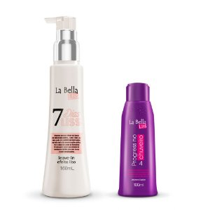 Kit Leave-in Efeito Liso 7 Dias Liss 160ml e Máscara Progress no Chuveiro 100ml La Bella Liss