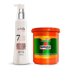 Kit Máscara Hidratante Isotônico Capilar 240g e Leave-in Efeito Liso 7 Dias Liss 160ml La Bella Liss