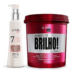 Kit Máscara Hidronutritiva Banho de Brilho 950g e Leave-in 7 Dias Liss 160g La Bella Liss
