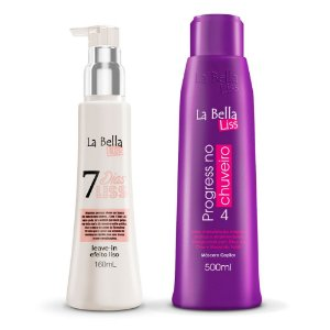 Kit Máscara Capilar Progress no Chuveiro 500ml e Leave-in 7 Dias Liss 160ml La Bella Liss
