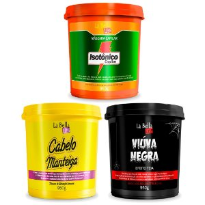Kit Cronograma Capilar Isotônico Capilar, Cabelo Manteiga e Viúva Negra 950g La Bella Liss