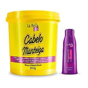 Kit Máscara de Nutrição Cabelo Manteiga 950g e Máscara Progress no Chuveiro 100ml La Bella Liss
