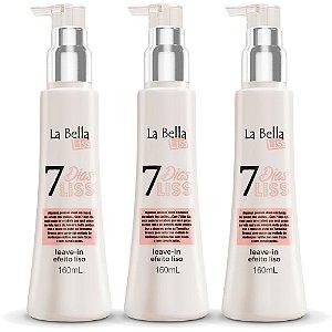 Kit 3 Leave-in Efeito Liso 7 Dias Liss 160ml La Bella Liss