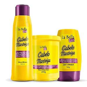 Kit de Nutrição Cabelo Manteiga Shampoo 500ml, Leave-in 150g e Máscara 240g La Bella Liss