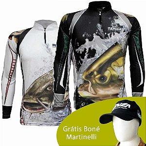 Camiseta King Sublimada Kff 303 EX + Camiseta de Pesca King Sublimada Kff 304 - Tam. EX + Grátis Boné Martinelli