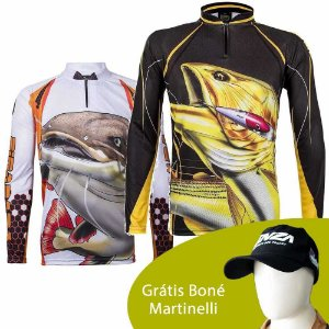 Camiseta King Sublimada Kff 102 GG + Camiseta de Pesca King  Kf 202 - tam: GG + Grátis Boné Martinelli