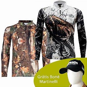 Camiseta de Pesca King 69 - Camuflada - Tam: EX + Camiseta King Sublimada Kf 630 Ex + Grátis Boné Martinelli